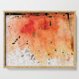 Red Abstract Art - Taking Chances - By Sharon Cummings Serving Tray