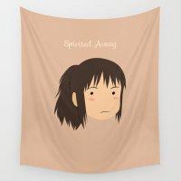 spirited away Wall Tapestries featuring Spirited Away Chihiro by bonieiji