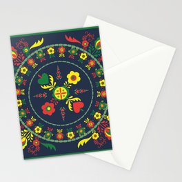 Folk Flowers with Green  Border Stationery Cards