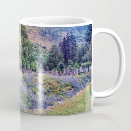 A old stone house and Bluebells flowers Coffee Mug
