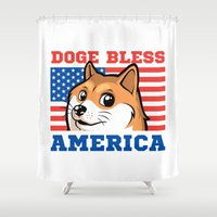 doge Shower Curtains featuring Doge Bless America by Tabner's