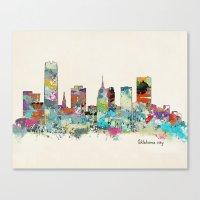 oklahoma Canvas Prints featuring Oklahoma City Oklahoma skyline by bri.buckley