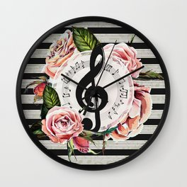 Treble Clef with Watercolor Roses Wall Clock