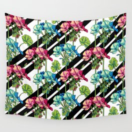 Flowers & Strips Wall Tapestry