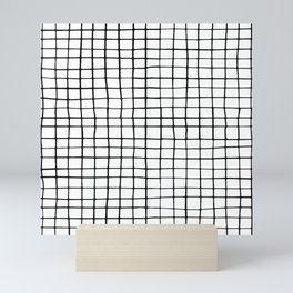 Grid Pattern | Black and White Mini Art Print
