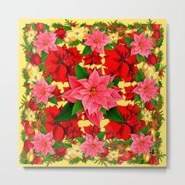 DECORATIVE  RED & PINK POINSETTIAS CHRISTMAS GREEN ART Metal Print