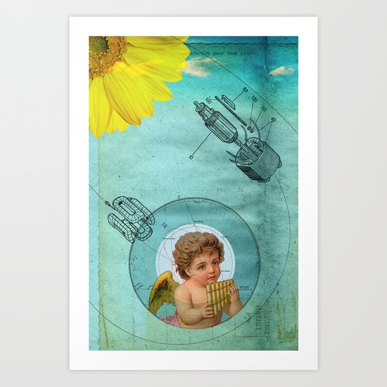 Angel playing music in space Art Print