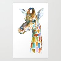 giraffe Art Prints featuring Giraffe by Brandon Keehner
