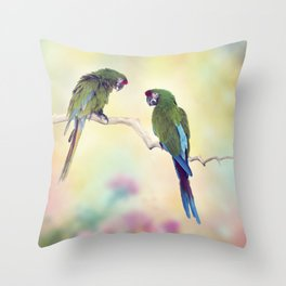 Colorful Macaw Parrots Perching On A Branch.Digital art Throw Pillow