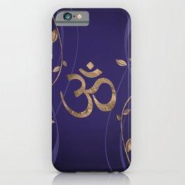 Om Symbol Golden Lotus Flowers on purple iPhone Case