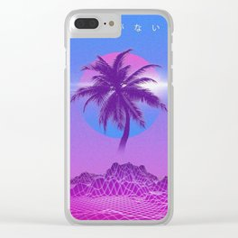Vaporwave Palm Tree Clear iPhone Case