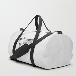 World Map - Hammered Metallic Monochrome Duffle Bag
