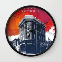 detroit Wall Clocks featuring Save Detroit by The Mighty Mitten - Great Lakes Art