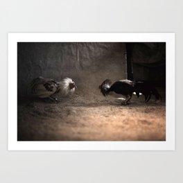 Cockfighting 2 Art Print
