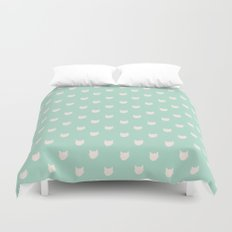 Cute dainty mint cats pattern Duvet Cover