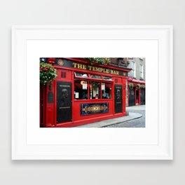 Red Temple Bar pub in Dublin Framed Art Print