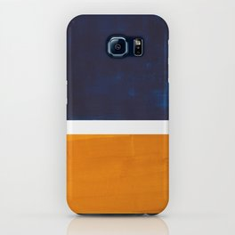 Navy Blue Yellow Ochre Abstract Minimalist Rothko Colorful Mid Century Color Block Pattern iPhone Case
