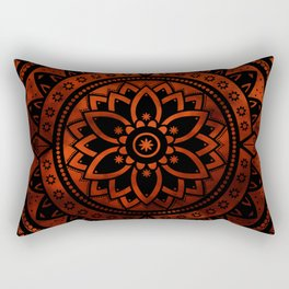 Burnt Orange & Black Patterned Flower Mandala Rectangular Pillow