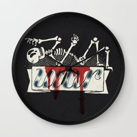 war Wall Clocks featuring war by Landon Sheely