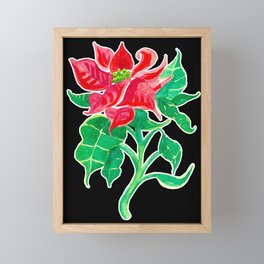 Christmas Poinsettia Flower Watercolor Decor Framed Mini Art Print