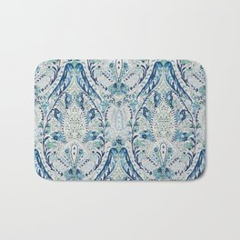 Green Blue Leaf Flower Paisley Bath Mat
