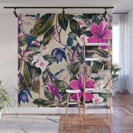 Pattern antique botanical flowers Wall Mural