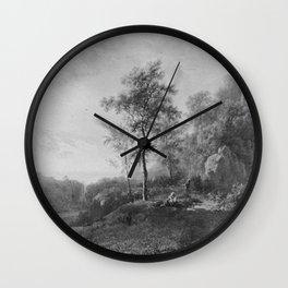 Barend Cornelis Koekkoek - Landschap bij ondergaande zon Wall Clock