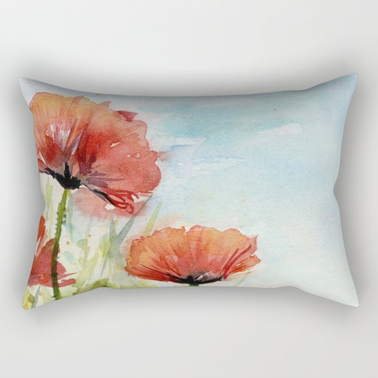 Red Flowers Watercolor Landscape Poppies Poppy Field Rectangular Pillow
