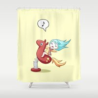pony Shower Curtains featuring Pony Ride by Freeminds