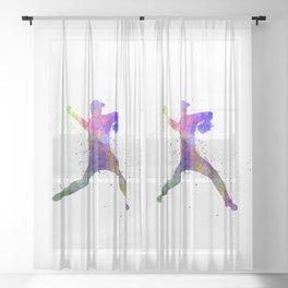 Baseball player throwing a ball 03 Sheer Curtain