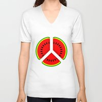 watermelon V-neck T-shirts featuring Watermelon by mailboxdisco
