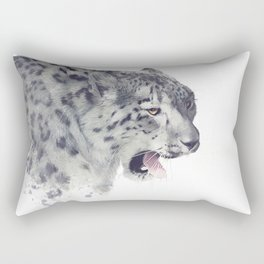 Snow leopard portrait watercolor on white background Rectangular Pillow