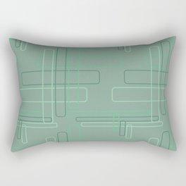 Tech Plaid Geometric Green Rectangle Pattern Rectangular Pillow
