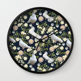 White Doves and Roses Wall Clock