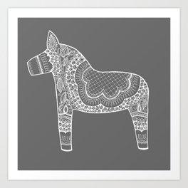 Dala Swedish Horse Grey Art Print