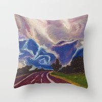 road Throw Pillows featuring Road by Shazia Ahmad