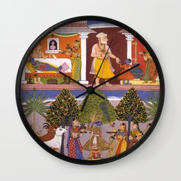 Scenes from the Childhood Krishna, from a Sur Sagar Manuscript Wall Clock