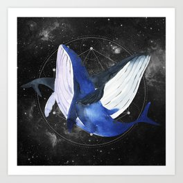 Whale. geometry. Watercolor illustration Art Print