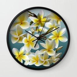 Plumeria on Blue Wall Clock