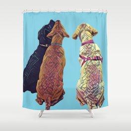 Three Amigos I in aqua Shower Curtain