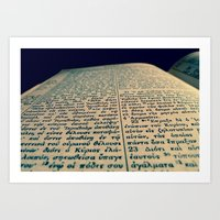 scripture Art Prints featuring Greek Scripture by Tyler Shaum