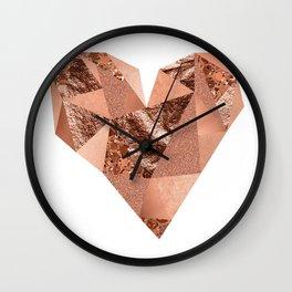 Rose gold geometric heart - glitter & foil Wall Clock