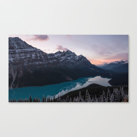 Peyto Lake at dusk Canvas Print