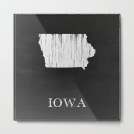 Iowa State Map Chalk Drawing Metal Print