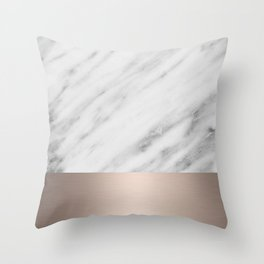 Carrara Italian Marble Holiday White Gold Edition Throw Pillow