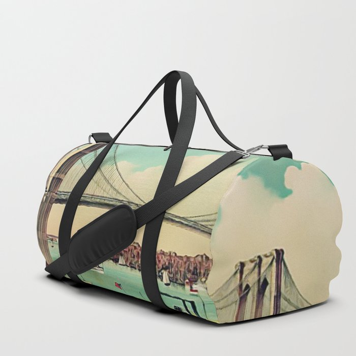 19th Century Portrait of the Brooklyn Bridge and East River, NYC Duffle Bag