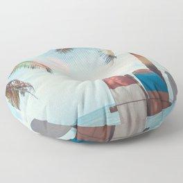 Surf Life Tropical Coastal Landscape Surfboard Scene Floor Pillow