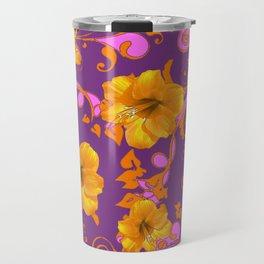 TROPICAL YELLOW & GOLD AMARYLLIS FLOWERS PATTERN Travel Mug