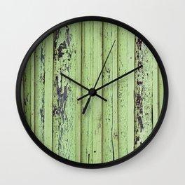 Rustic mint green grunge wood panels Wall Clock