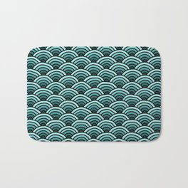 Japanese Waves Seigaiha Teal Bath Mat